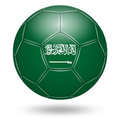 Ballon de football couleurs Arabie Saoudite. Fond blanc