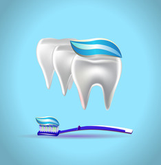 Vector illustration of banner toothpaste teeth