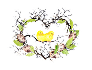 Cute chicks, easter eggs, branches and spring leaves. Heart shape. Watercolor floral wreath for Easter