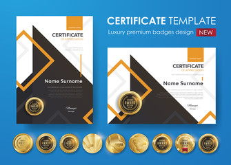 certificate template with modern pattern,diploma,Vector illustration and vector Luxury premium badges design,Set of retro vintage badges and labels.