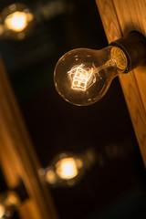 Vintage lightbulb on dark background