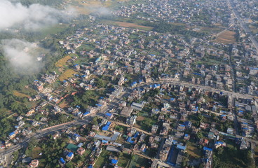 Pokhara town arial cityscape Nepal