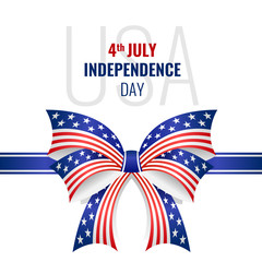 USA independence day with ribbon bow usa flag texture vector design