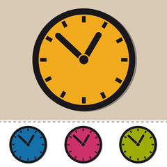 Clock - Editable Colorful Vector Icons - Isolated On White Background