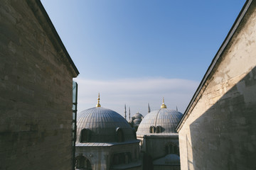 view on tops of suleymaniye mosque in Istanbul, Turkey