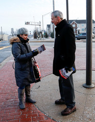 U.S. Congressman Daniel Lipinski campaigns for re-election at the Chicago Ridge Metra commuter train station in Chicago Ridge