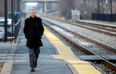 U.S. Congressman Daniel Lipinski arrives at the Chicago Ridge Metra commuter train station before campaigning for re-election in Chicago Ridge