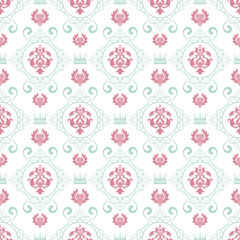 Damask wallpaper background in classic style, pastel color, seamless pattern. Repeating vintage texture pattern. Vector image