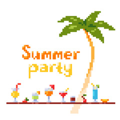 Pixel art style invitation party postcard with ice and alcoholic summer drinks and beach cocktails. Palm tree. Fruits and refreshments. Vector illustration.