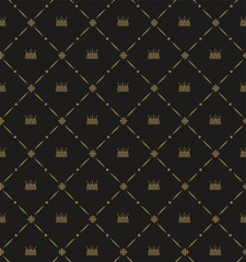 Decorative background in Royal style, dark color, seamless pattern with crowns. Repeating vintage pattern textures. Vector image