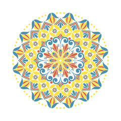 Flower mandala. Oriental ethnic circular ornament. Design element