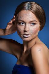 beauty fashion glamour girl. Face powder Shine.