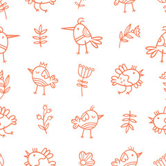 Seamless pattern with cute cartoon birds on white  background. Flowers and plants. Spring time. Vector contour image. Doodle style.