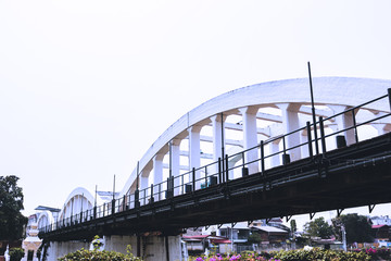 white bridge landmark in lampang thailand