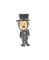 お金持ちのおじさん。僕の街のみんな。子供の落書き風。ゆるいイラスト