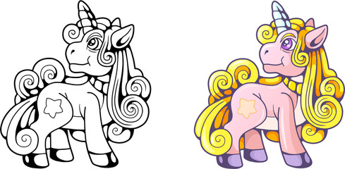 cartoon cute pony unicorn, funny illustration