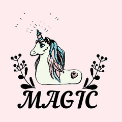 Unicorn are real, fantasy illustration, vector logo or print