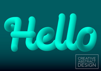 Vector illustration. Hello sign. Blue color blended word hello on black background, 3d abstract, imitation of liquid fluid color shapes.