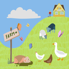 Rural landscape with house on hill, farm animals, sign post.
