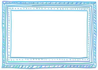 Blue doodle frame. A6, A5, A4, A3 horizontal size.