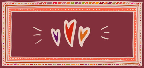 Valentine's day card, hearts in doodle frame. Horizontal DL size.