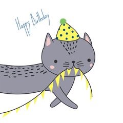 Hand drawn Happy Birthday greeting card with cute funny cartoon cat with a in a party hat, carrying bunting, text. Isolated objects on white background. Vector illustration. Design concept for kids.
