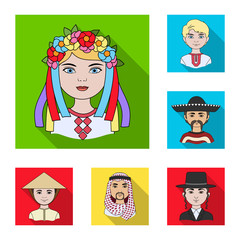 The human race flat icons in set collection for design. People and nationality vector symbol stock web illustration.