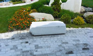 Concrete block paving of garden pathway