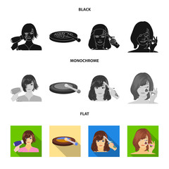 Salon, care, hygiene and other web icon in black, flat, monochrome style. Hands, hairdresser, beauty, icons in set collection.