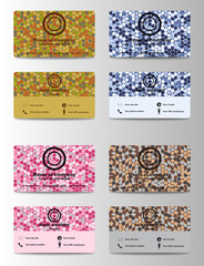 Set of personal horisontal id cards with identification elements, photo, phone, email and GPS location information