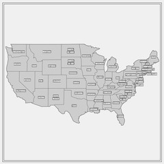 United States of America Map. Illustration.