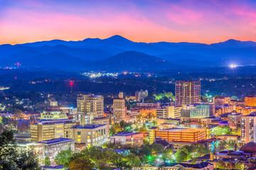 Fototapete - Asheville, North Carolina, USA Skyline