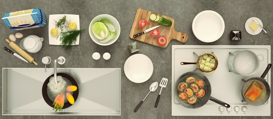 Stone countertop with dishes and products. Healthy eating concept with fresh vegetables. Panorama. Top view.