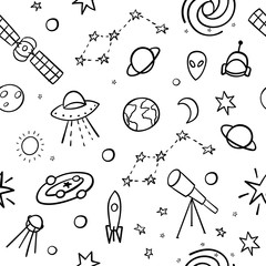 Cosmos space astronomy simple seamless pattern. Endless galaxy inspiration graphic design typography element. Hand drawn Cute simple vector background.