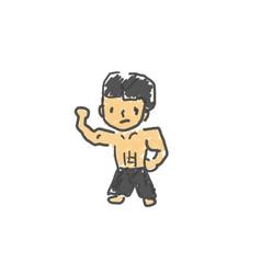中国拳法使いのリーさん。僕の街のみんな。子供の落書き風。ゆるいイラスト