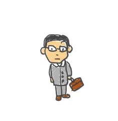 時々うちにくる営業の佐藤さん。僕の街のみんな。子供の落書き風。ゆるいイラスト