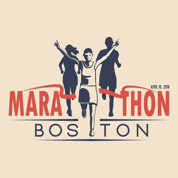 Unique design of the vector badge for the annual running marathon in Boston. Vector illustration.