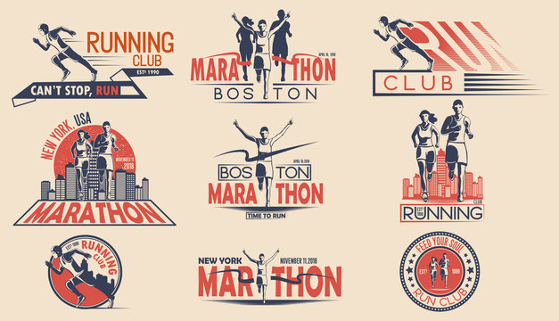 Set of design of logos, badges for running tournament, sports team, marathon. Vector illustration.