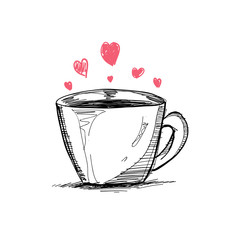 cup and heart, vector sketch love and drink