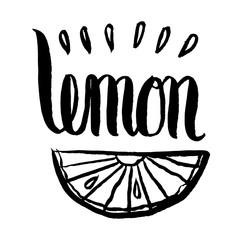 "drawing of a slice of lemon and inscription lettering words ""lemon"", sketch, hand-drawn vector illustration"