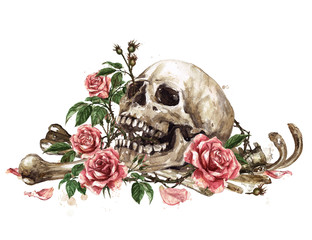 Foto op Plexiglas Waterverf Illustraties Human Skull surrounded by Flowers. Watercolor Illustration.