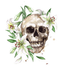Human Skull surrounded by Flowers. Watercolor Illustration.