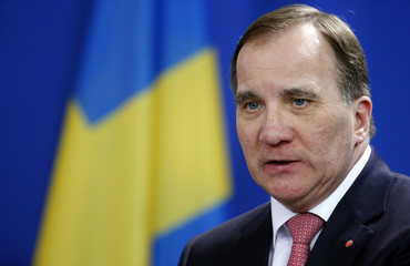 Swedish Prime Minister Lofven addresses a news conference after talks at the chancellery in Berlin