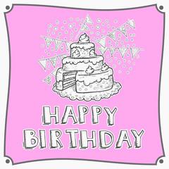 Van harte gefeliciteerd wenskaart met taart en vlaggen - roze kleur