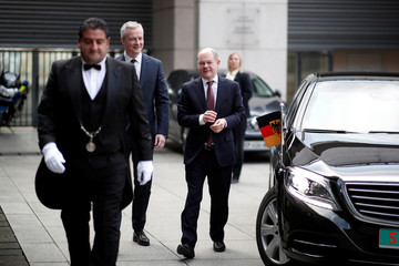 French Finance Minister Bruno Le Maire and German Finance Minister and vice-chancellor Olaf Scholz arrive for a meeting in Paris
