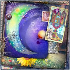 Canvas Prints Imagination Luna stellate delle fiabe con asso di coppe dei tarocchi