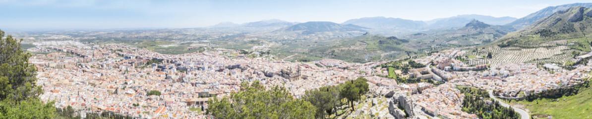 Jaen city panoramic view from Santa Catalina Cross view point, Spain