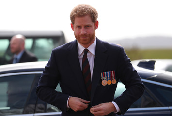 Britain's Prince Harry arrives at the Army Aviation Centre to present the latest graduates with their Wings in Middle Wallop