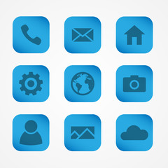 Set of blue square icons for mobile devices. Vector icons for applications.