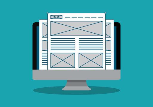 Website wireframe on desktop vector